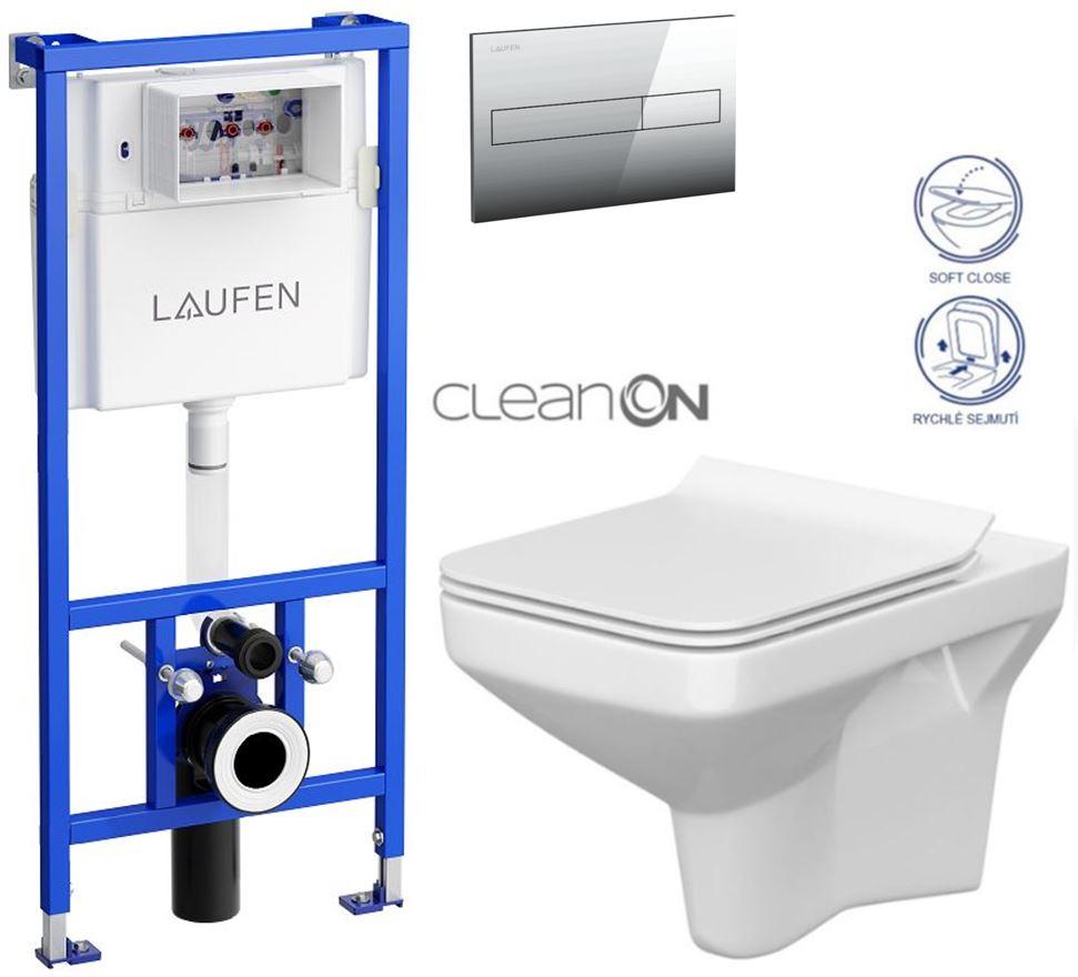 AKCE/SET/LAUFEN - Rámový podomítkový modul CW1  SET + ovládací tlačítko CHROM + WC CERSANIT COMO CLEANON + SEDÁTKO (H8946600000001CR CO1)