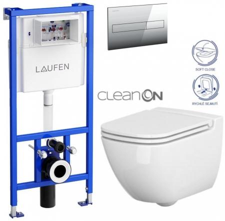 AKCE/SET/LAUFEN - Rámový podomítkový modul CW1  SET + ovládací tlačítko CHROM + WC CERSANIT CASPIA CLEANON + SEDÁTKO (H8946600000001CR CP1)