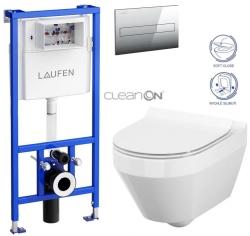 AKCE/SET/LAUFEN - Rámový podomítkový modul CW1  SET + ovládací tlačítko CHROM + WC CERSANIT CREA OVÁL CLEANON + SEDÁTKO (H8946600000001CR CR1)