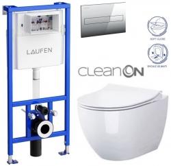 LAUFEN Rámový podomítkový modul CW1 SET s chromovým tlačítkem + WC CERSANIT ZEN CLEANON + SEDÁTKO (H8946600000001CR HA1)