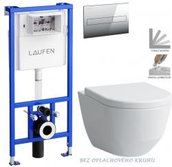AKCE/SET/LAUFEN - Rámový podomítkový modul CW1  SET + ovládací tlačítko CHROM + WC LAUFEN PRO RIMLESS + SEDÁTKO (H8946600000001CR LP1)