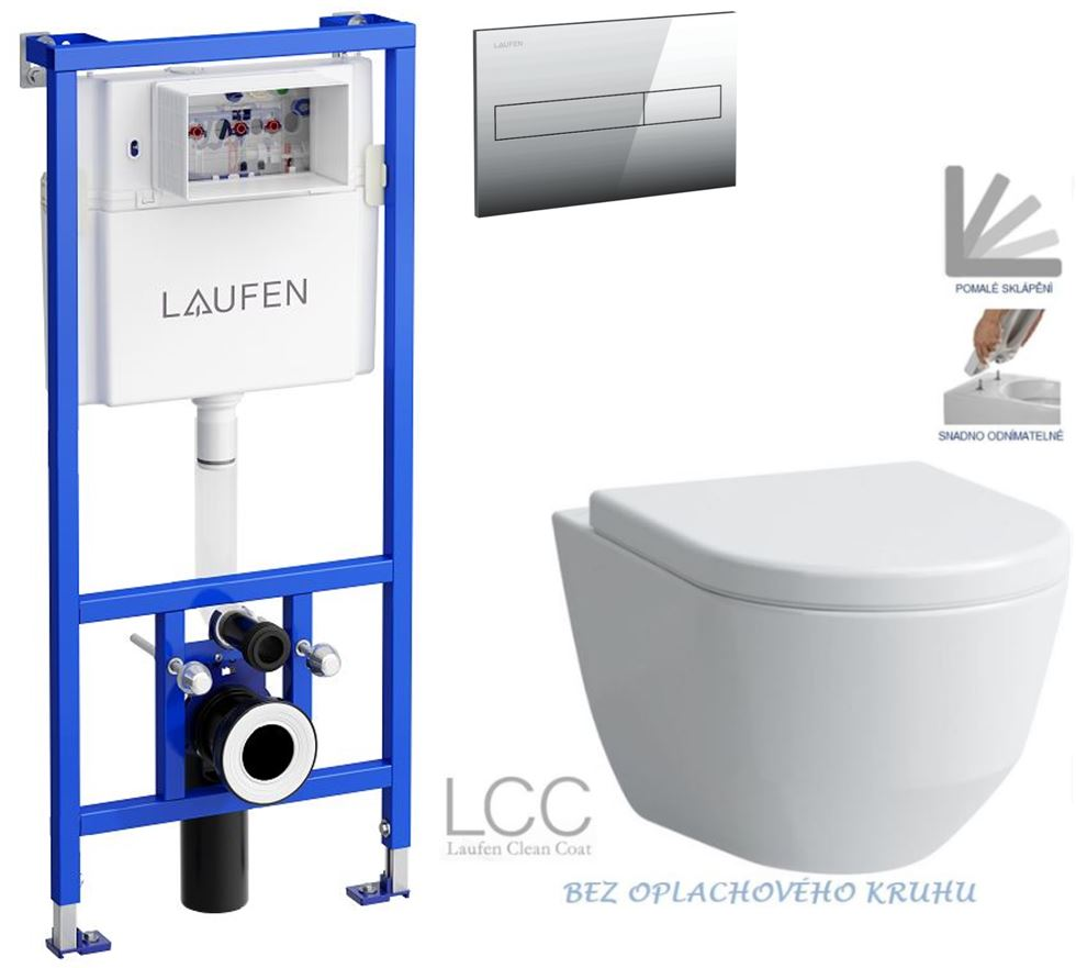 AKCE/SET/LAUFEN - Rámový podomítkový modul CW1  SET + ovládací tlačítko CHROM + WC LAUFEN PRO LCC RIMLESS + SEDÁTKO (H8946600000001CR LP2)