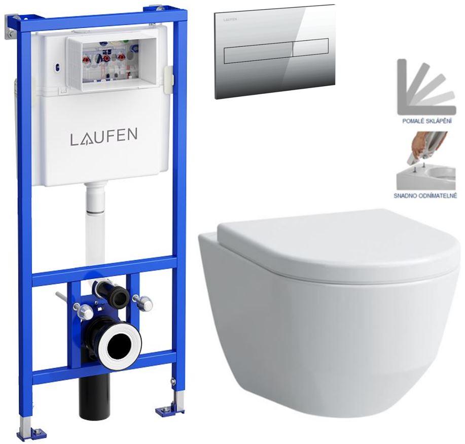 AKCE/SET/LAUFEN - Rámový podomítkový modul CW1  SET + ovládací tlačítko CHROM + WC LAUFEN PRO + SEDÁTKO (H8946600000001CR LP3)