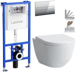 LAUFEN Rámový podomítkový modul CW1 SET s chromovým tlačítkem + WC LAUFEN PRO + SEDÁTKO (H8946600000001CR LP3)