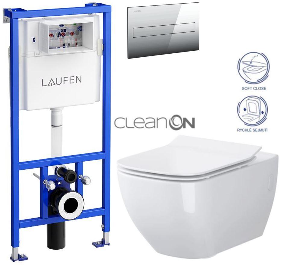 AKCE/SET/LAUFEN - Rámový podomítkový modul CW1  SET + ovládací tlačítko CHROM + WC CERSANIT METROPOLITAN CLEANON + SEDÁTKO (H8946600000001CR ME1)
