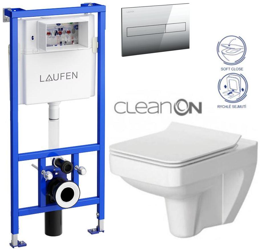 Rámový podomítkový modul CW1  SET+ ovládací tlačítko CHROM + WC CERSANIT SPLENDOUR CLEANON + SEDÁTKO (H8946600000001CR SP1) - AKCE/SET/LAUFEN