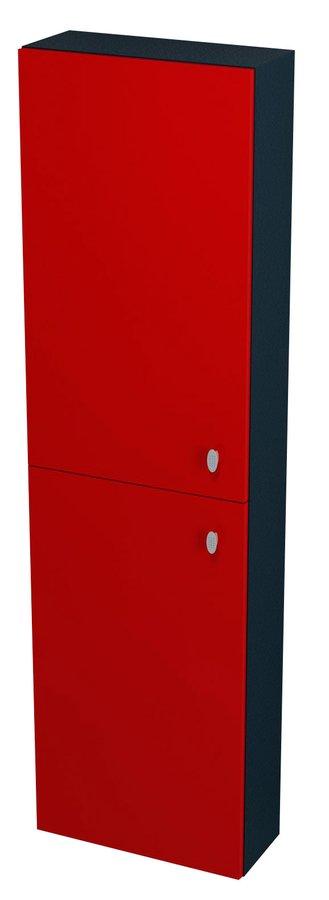 AILA skříňka vysoká 40x140x18cm, levá, červená/černá (55677)