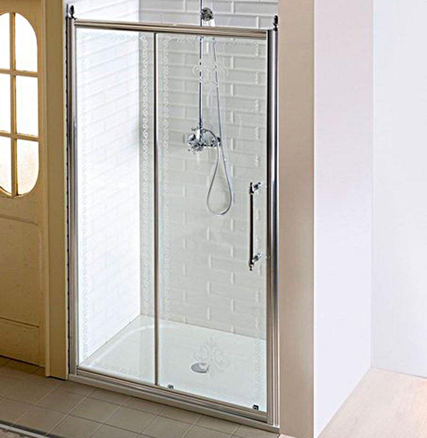ANTIQUE sprchové dveře, posuvné,1400mm, čiré sklo s dekorem, chrom (GQ4514) Gelco