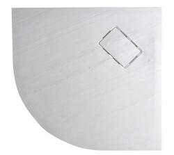 SAPHO - ATIKA vanička z litého mramoru, čtvrtkruh 90x90x3,5cm, R550, bílá, dekor kámen (AK001)