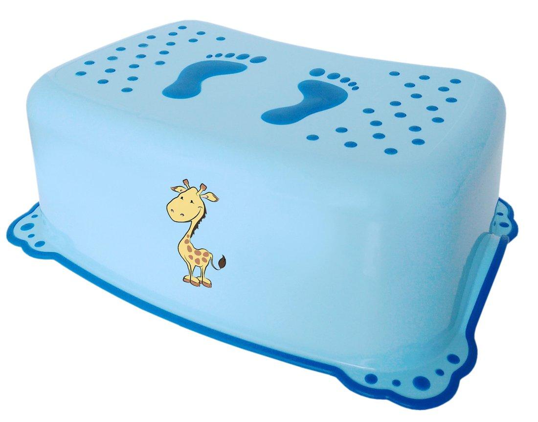 AQUALINE - Dětské protiskluzové stupátko do koupelny Žirafa, modrá (2526)