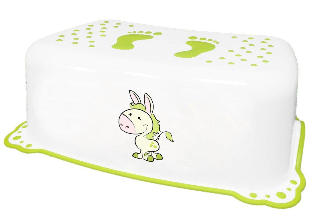 AQUALINE - Dětské protiskluzové stupátko do koupelny Oslík, bílá (7426)