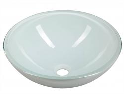 SAPHO - GWYN skleněné umyvadlo průměr 42 cm, bílá lesk (2501-24)