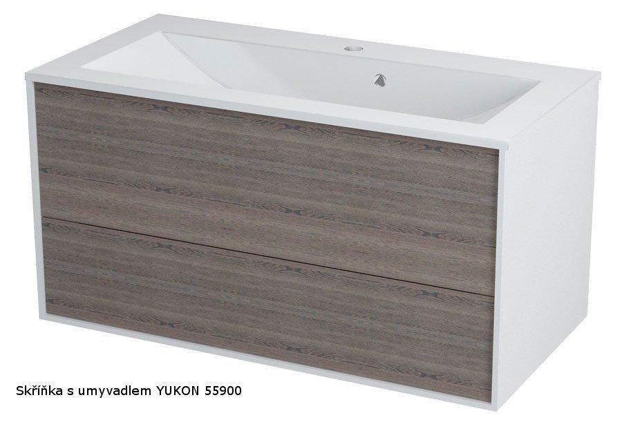SAPHO - KROMA umyvadlová skříňka 89x45x45cm, bílá/mali wenge (KR091)
