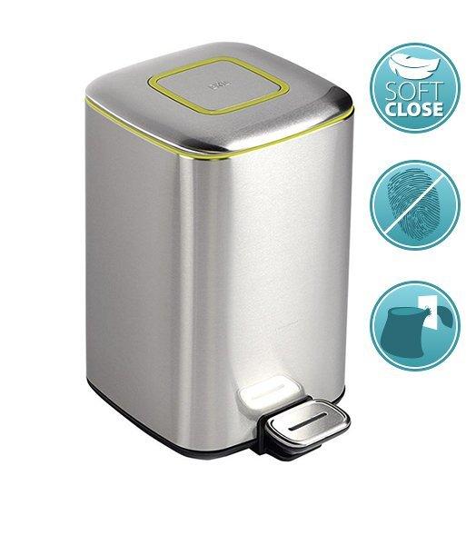 SAPHO - REGENT Odpadkový koš 32l, Soft Close, nerez mat, stříbrná, zelená linka (DR303)