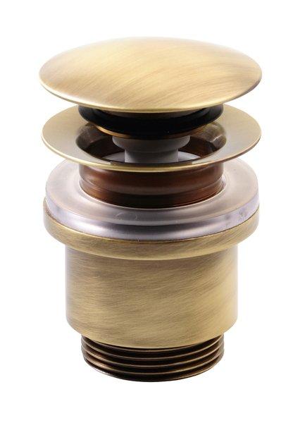 Uzavíratelná kulatá výpusť pro umyvadla bez přepadu Click Clack, V 25-45mm,bronz (UD43992)