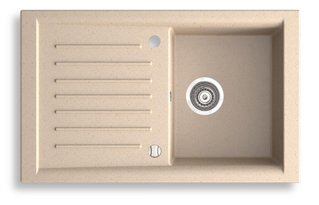 NOVASERVIS - Granitový dřez s odkapem, magranit písek,s přepadem z dřezu (DRG50/81S)