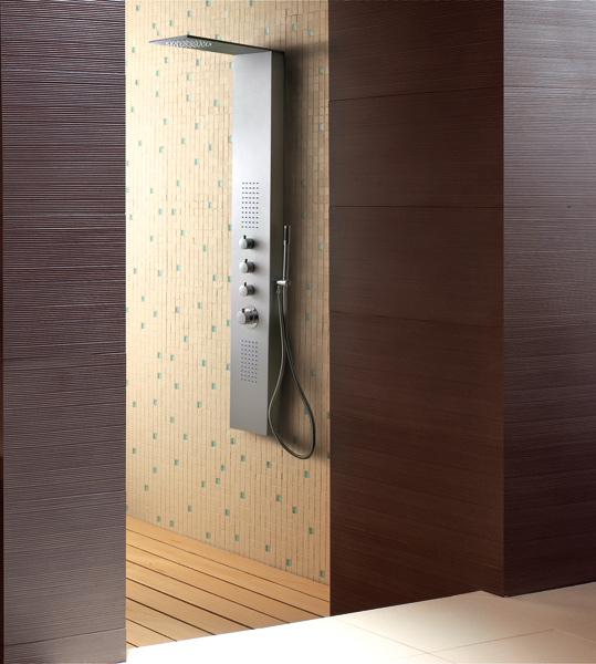 Aquatek - Dubai Hydromasážní sprchový panel , způsob montáže do rohu, baterie termostatická (Dubai-275)