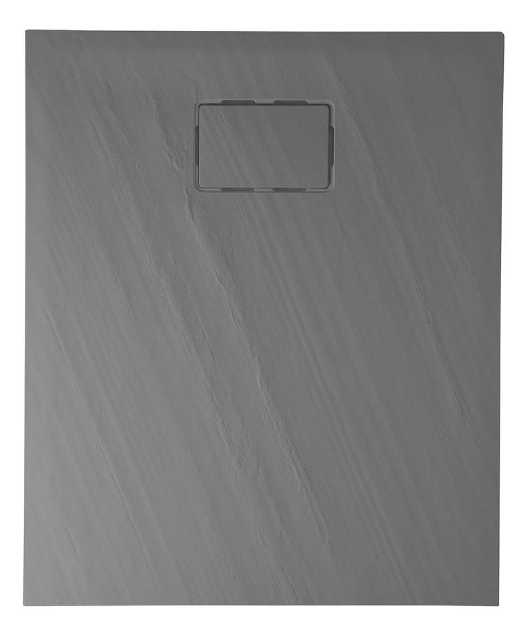 SAPHO - ATIKA sprchová vanička z litého mramoru, obdélník 100x80x3,5cm,šedá,dekor kámen (AK023)