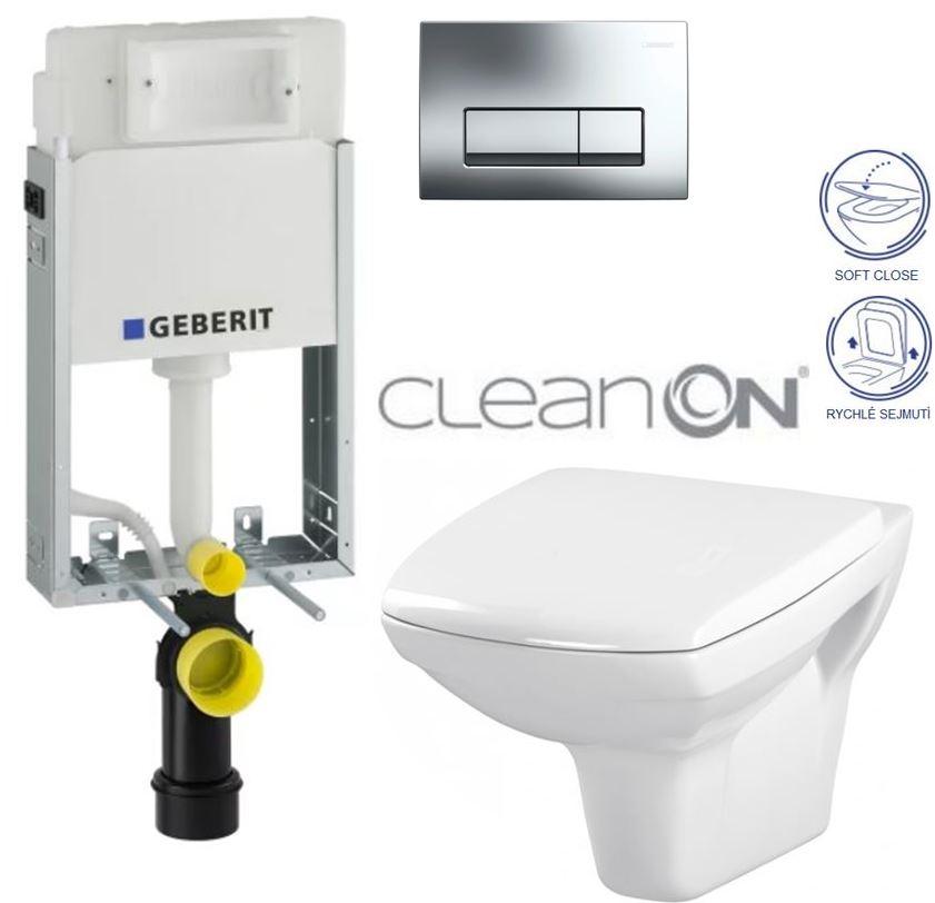 AKCE/SET/GEBERIT - GEBERIT - KOMBIFIXBasic včetně ovládacího tlačítka DELTA 51 CR pro závěsné WC CARINA CLEAN ON + SEDÁTKO (110.100.00.1 51CR CA2)