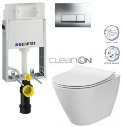SET GEBERIT - KOMBIFIXBasic včetně ovládacího tlačítka DELTA 51 CR pro závěsné WC CITY CLEAN ON + SEDÁTKO (110.100.00.1 51CR CI1) - AKCE/SET/GEBERIT