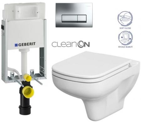 AKCE/SET/GEBERIT - SET GEBERIT - KOMBIFIXBasic včetně ovládacího tlačítka DELTA 51 CR pro závěsné WC COLOUR CLEAN ON + SEDÁTKO (110.100.00.1 51CR CN1)