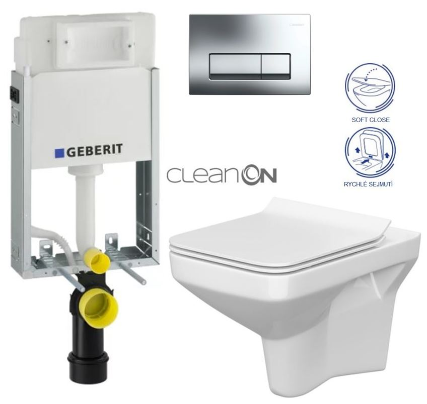 AKCE/SET/GEBERIT - GEBERIT - KOMBIFIXBasic včetně ovládacího tlačítka DELTA 51 CR pro závěsné WC COMO CLEAN ON + SEDÁTKO (110.100.00.1 51CR CO1)