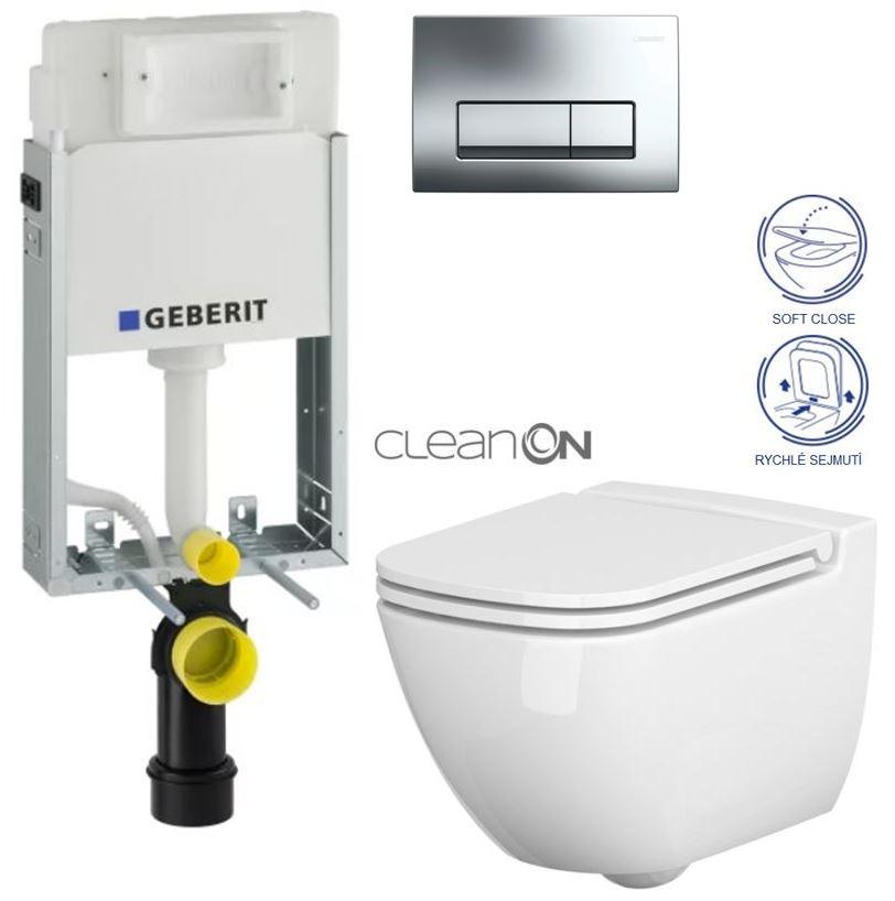 GEBERIT - KOMBIFIXBasic včetně ovládacího tlačítka DELTA 51 CR pro závěsné WC CASPIA CLEAN ON + SEDÁTKO (110.100.00.1 51CR CP1) - AKCE/SET/GEBERIT