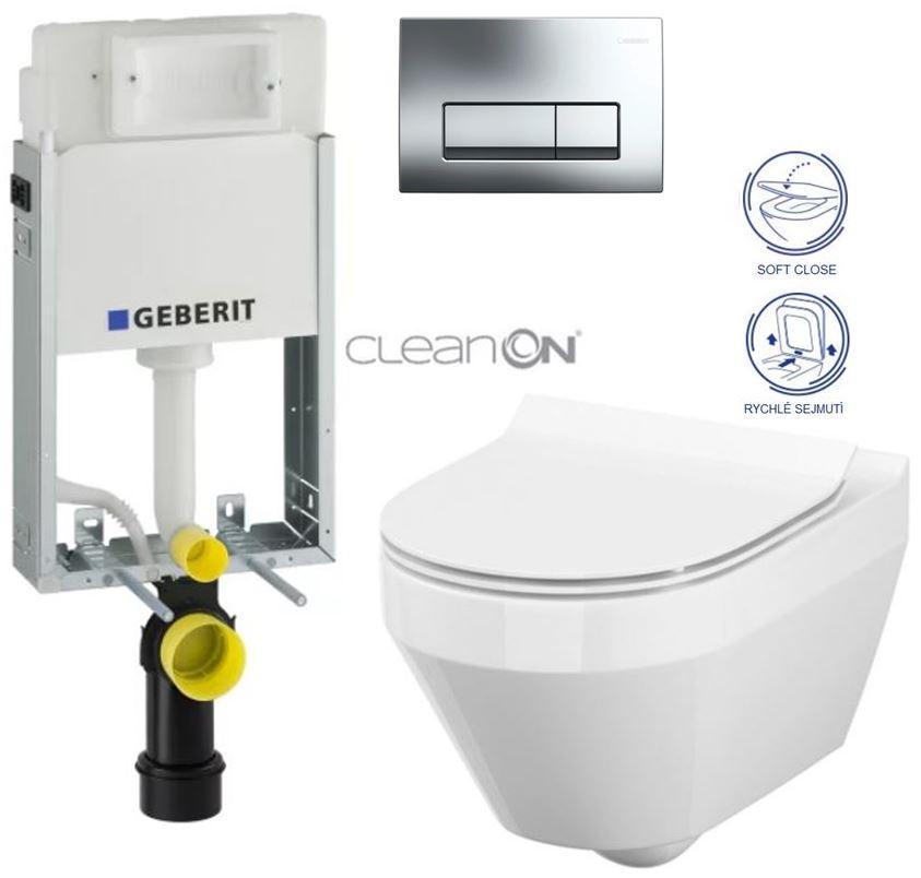 SET GEBERIT - KOMBIFIXBasic včetně ovládacího tlačítka DELTA 51 CR pro závěsné WC CREA OVÁL CLEAN ON + SEDÁTKO (110.100.00.1 51CR CR1)