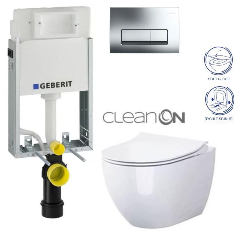 SET GEBERIT - KOMBIFIXBasic včetně ovládacího tlačítka DELTA 51 CR pro závěsné WC OPOCZNO URBAN HARMONY CLEAN ON + SEDÁTKO (110.100.00.1 51CR HA1)