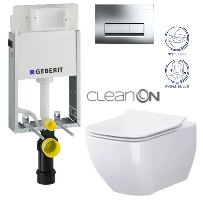 SET GEBERIT - KOMBIFIXBasic včetně ovládacího tlačítka DELTA 51 CR pro závěsné WC OPOCZNO METROPOLITAN CLEAN ON + SEDÁTKO (110.100.00.1 51CR ME1)