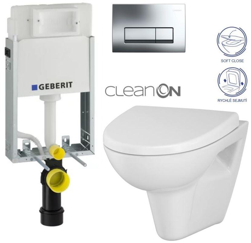 AKCE/SET/GEBERIT - GEBERIT - KOMBIFIXBasic včetně ovládacího tlačítka DELTA 51 CR pro závěsné WC PARVA CLEAN ON + SEDÁTKO (110.100.00.1 51CR PA1)
