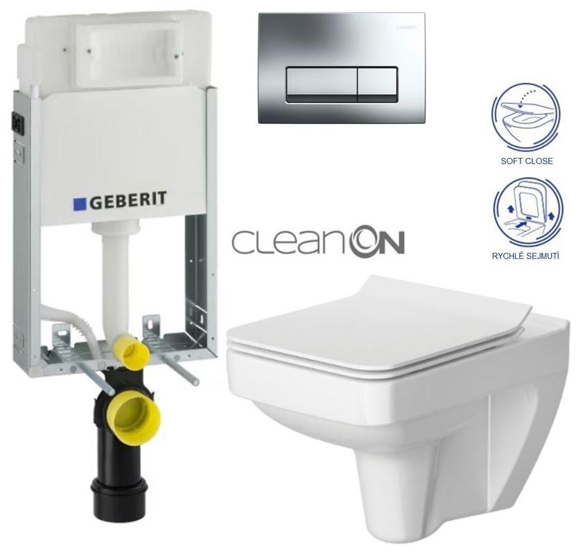 AKCE/SET/GEBERIT - GEBERIT - KOMBIFIXBasic včetně ovládacího tlačítka DELTA 51 CR pro závěsné WC SPLENDOUR CLEAN ON + SEDÁTKO (110.100.00.1 51CR SP1)