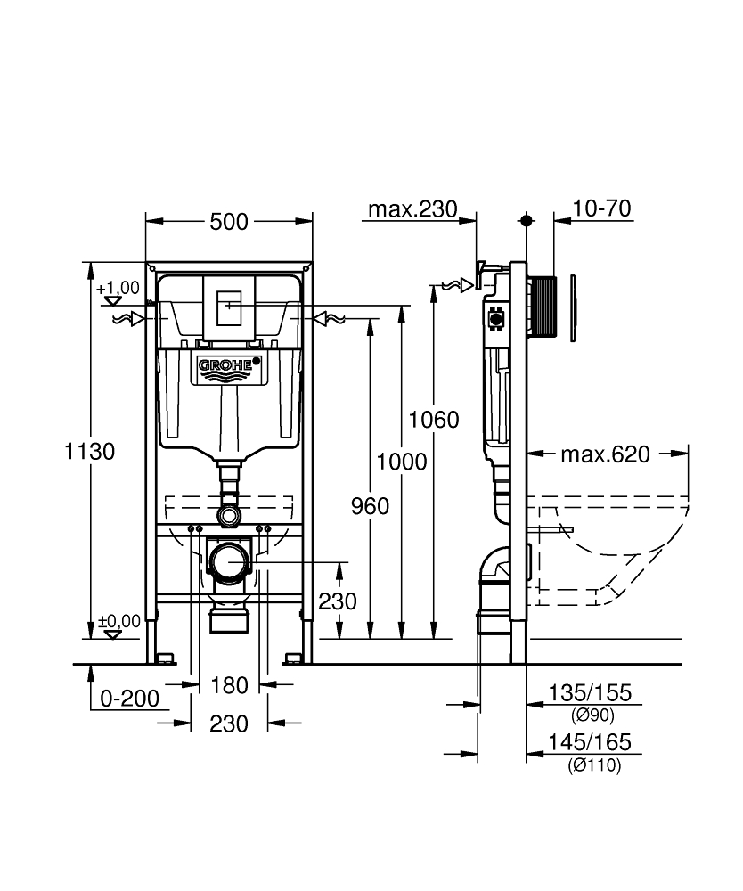 AKCE/SET/GROHE - GROHE -Rapid SL Rapid SL pro závěsné WC 38528SET + WC CERSANIT CITY CLEAN ON + SEDÁTKO (38772001 CI1), fotografie 4/9