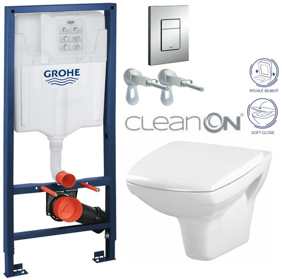 AKCE/SET/GROHE - Rapid SL Rapid SL pro závěsné WC 38528SET + WC CERSANIT CARINA CLEAN ON + SEDÁTKO (38772001 CA2)