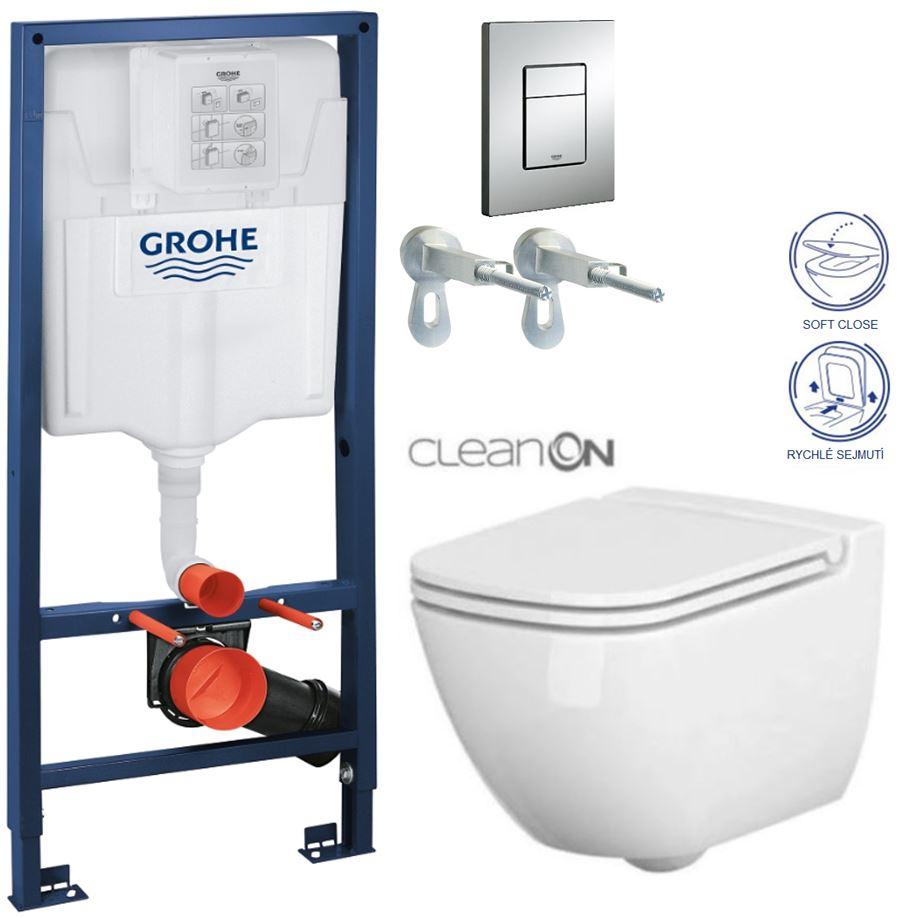 AKCE/SET/GROHE - GROHE -Rapid SL Rapid SL pro závěsné WC 38528SET + WC CERSANIT CASPIA CLEAN ON + SEDÁTKO (38772001 CP1)