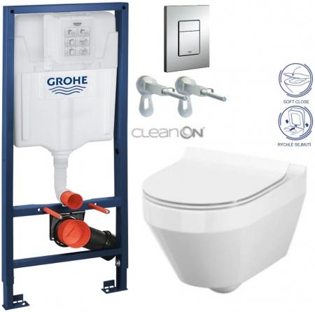 AKCE/SET/GROHE - Rapid SL Rapid SL pro závěsné WC 38528SET + WC CERSANIT CREA OVÁL CLEAN ON + SEDÁTKO (38772001 CR1)