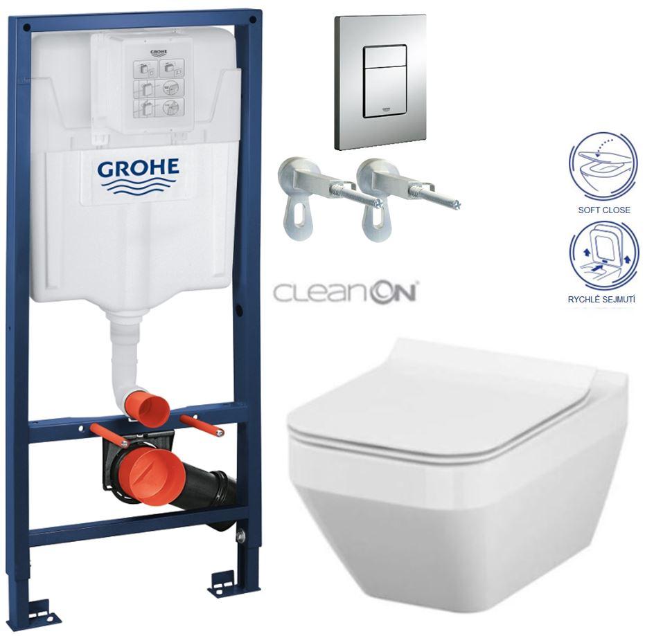 AKCE/SET/GROHE - GROHE -Rapid SL Rapid SL pro závěsné WC 38528SET + WC CERSANIT CREA HRANATÉ CLEAN ON + SEDÁTKO (38772001 CR2)