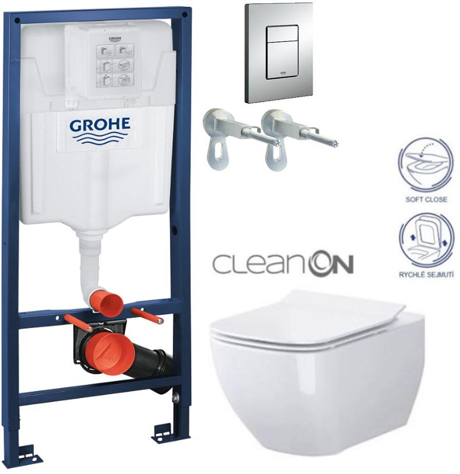 AKCE/SET/GROHE - GROHE -Rapid SL Rapid SL pro závěsné WC 38528SET + WC CERSANIT METROPOLITAN CLEAN ON + SEDÁTKO (38772001 ME1)