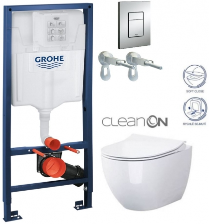Rapid SL pro závěsné WC 38528SET s chromovou deskou + WC CERSANIT ZEN CLEANON + SEDÁTKO (38772001 HA1)