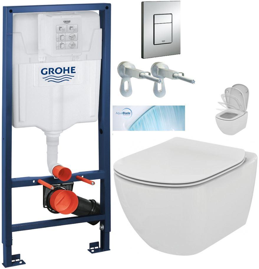 AKCE/SET/GROHE Rapid SL Rapid SL pro závěsné WC 38528SET + WC TESI se sedátkem SoftClose, AquaBlade