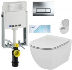 AKCE/SET/GEBERIT - SET KOMBIFIXBasic včetně ovládacího tlačítka DELTA 51 CR + WC TESI se sedátkem SoftClose, AquaBlade (110.100.00.1 51CR TE1)