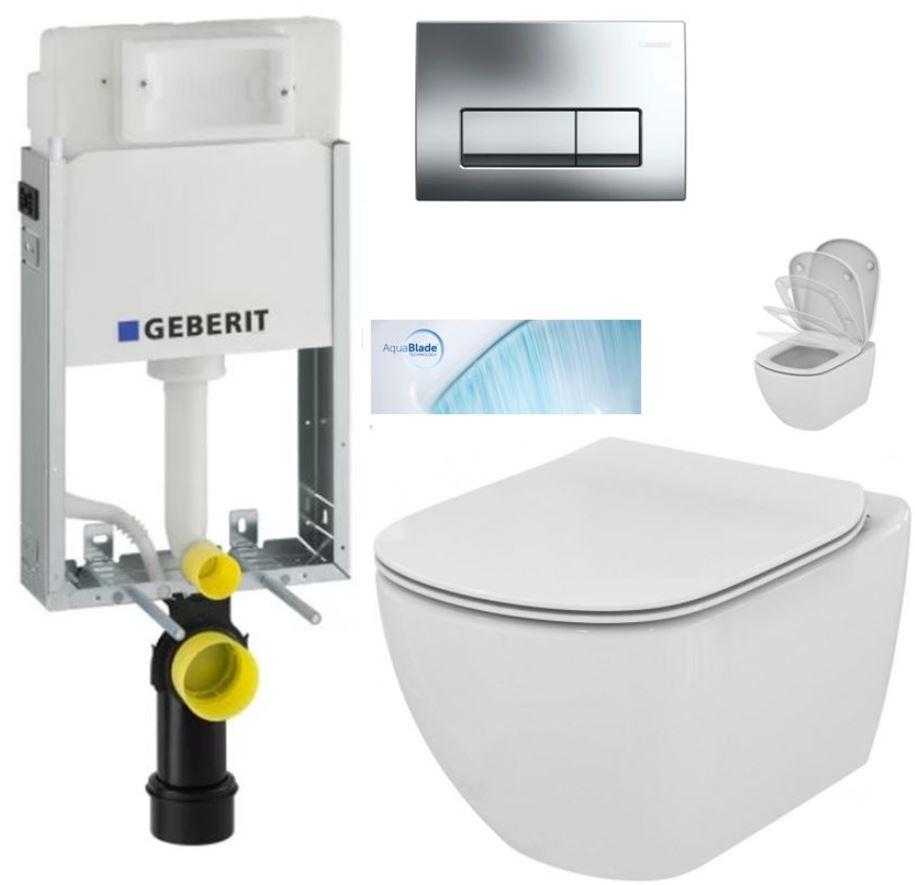 AKCE/SET/GEBERIT - KOMBIFIXBasic včetně ovládacího tlačítka DELTA 51 CR + WC TESI se sedátkem SoftClose, AquaBlade (110.100.00.1 51CR TE1)