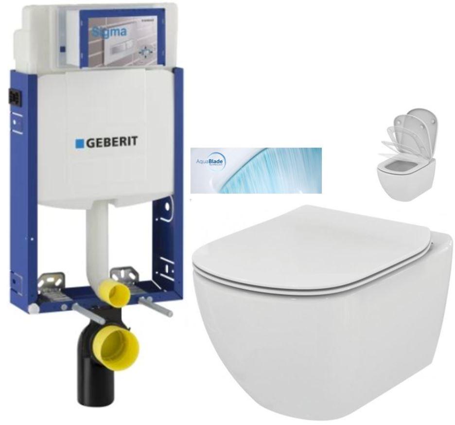 AKCE/SET/GEBERIT Kombifix KOMBIFIX ECO pro závěsné WC, nádržka UP 320 bez Ovládací desky + WC TESI se sedátkem SoftClose, AquaBlade 110.302.00.5 TE1