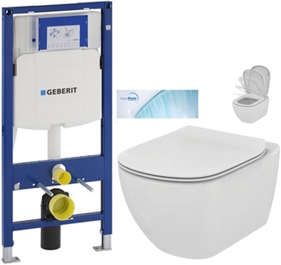 AKCE/SET/GEBERIT - Duofix pro závěsné WC 111.300.00.5 bez ovládací desky + WC TESI se sedátkem SoftClose, AquaBlade (111.300.00.5 TE1)