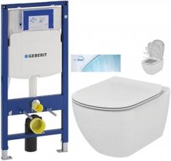 AKCE/SET/GEBERIT - SET Duofix pro závěsné WC 111.300.00.5 bez ovládací desky + WC TESI se sedátkem SoftClose, AquaBlade (111.300.00.5 TE1)
