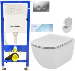 AKCE/SET/GEBERIT - SET Duofix Sada pro závěsné WC 458.103.00.1 + tlačítko DELTA21 matné + WC TESI se sedátkem SoftClose, AquaBlade (458.103.00.1 21MA TE1)