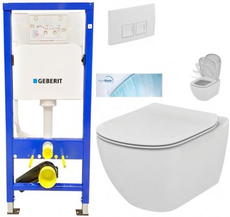 AKCE/SET/GEBERIT - Duofix Sada pro závěsné WC 458.103.00.1 + tlačítko DELTA50 bílé + WC TESI se sedátkem SoftClose, AquaBlade (458.103.00.1 50BI TE1)
