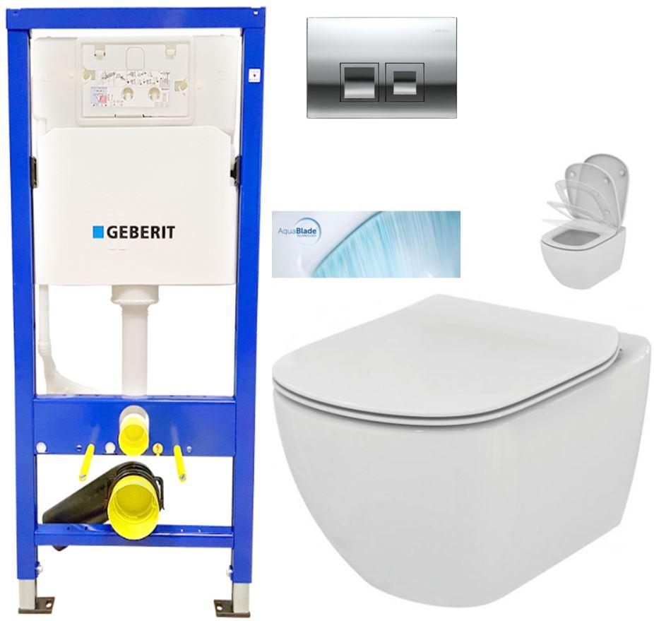 AKCE/SET/GEBERIT - Duofix Sada pro závěsné WC 458.103.00.1 + tlačítko DELTA50 CHROM + WC TESI se sedátkem SoftClose, AquaBlade (458.103.00.1 50CR TE1)
