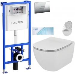 Rámový podomítkový modul CW1  SET + ovládací tlačítko CHROM + WC TESI se sedátkem SoftClose, AquaBlade (H8946600000001CR TE1) - AKCE/SET/LAUFEN