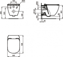 AKCE/SET/LAUFEN - Rámový podomítkový modul CW1  SET + ovládací tlačítko CHROM + WC TESI se sedátkem SoftClose, AquaBlade (H8946600000001CR TE1), fotografie 4/7